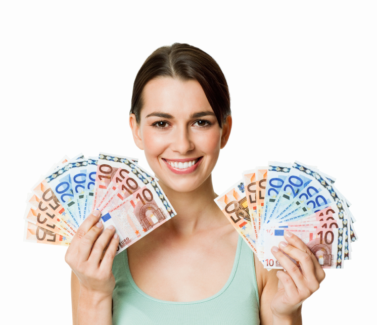 Mujer joven con dinero