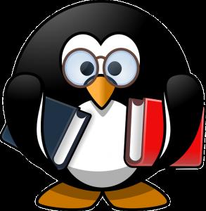 Dibujo de pingüíno con libros